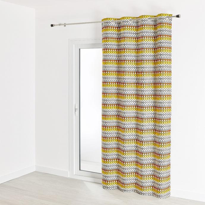 Rideau d'ameublement contemporain en jacquard 140x260 cm (Ocre)