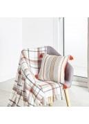 Coussin grosse toile coton rayures tissées - terracotta 40x40