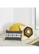 Cojín tejido algodón bordado motivo rombo 45 x 45 cm