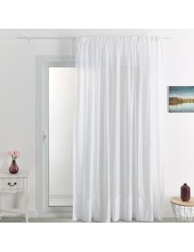 Rideau voilage classique uni polyester-lin avec bas plombé