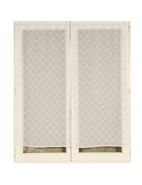 Voilage vitrages à la paire brodé croisillons 060x120 cm