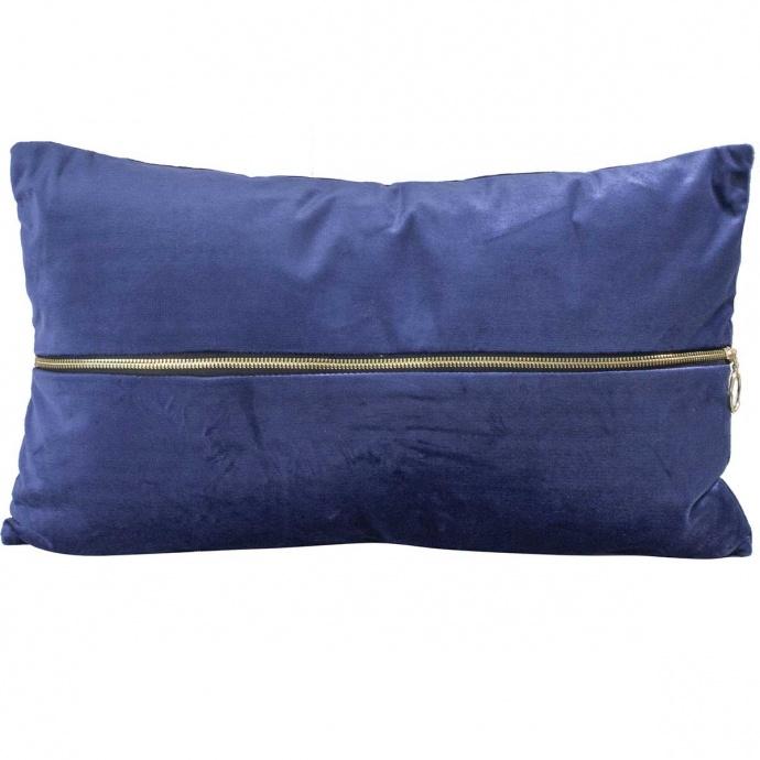 Coussin déhoussable en velours uni avec zip (Bleu Nuit)