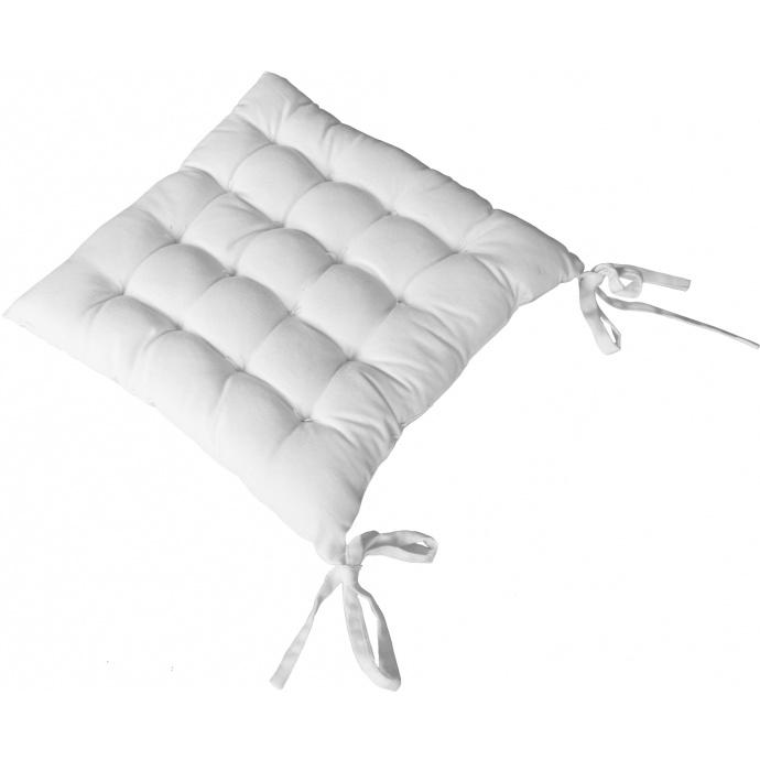 Galette de chaise piquée 16 points en coton et nouettes (Blanc)