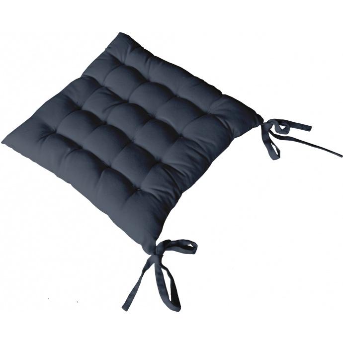 Galette de chaise piquée 16 points en coton et nouettes (Naturel)