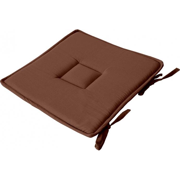 Galette plate unie en coton passepoil et nouettes (Chocolat)