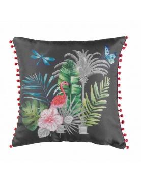 Coussin à pompons exotique et tropical