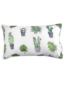 Coussin passepoilé et imprimé Cactus