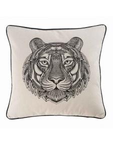 Coussin déhoussable passepoilé à tête de tigre