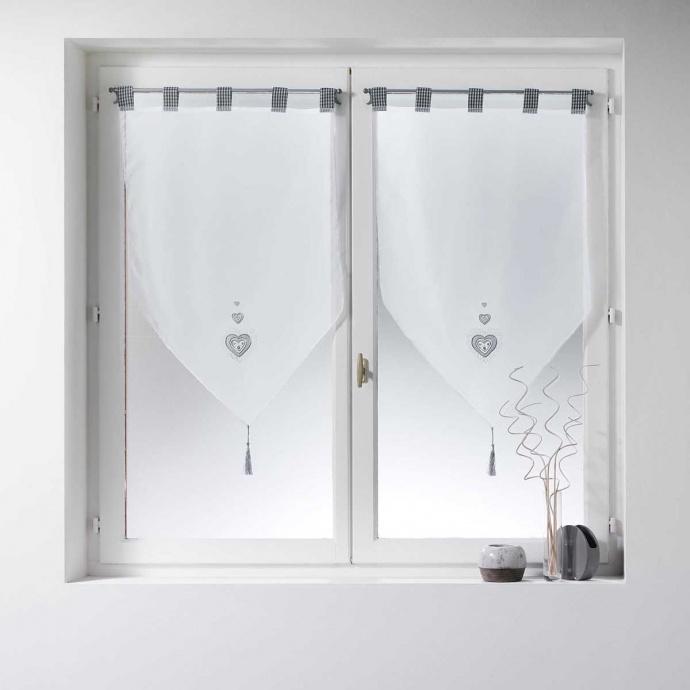 Paire de vitrages brodés coeurs gris (Blanc)