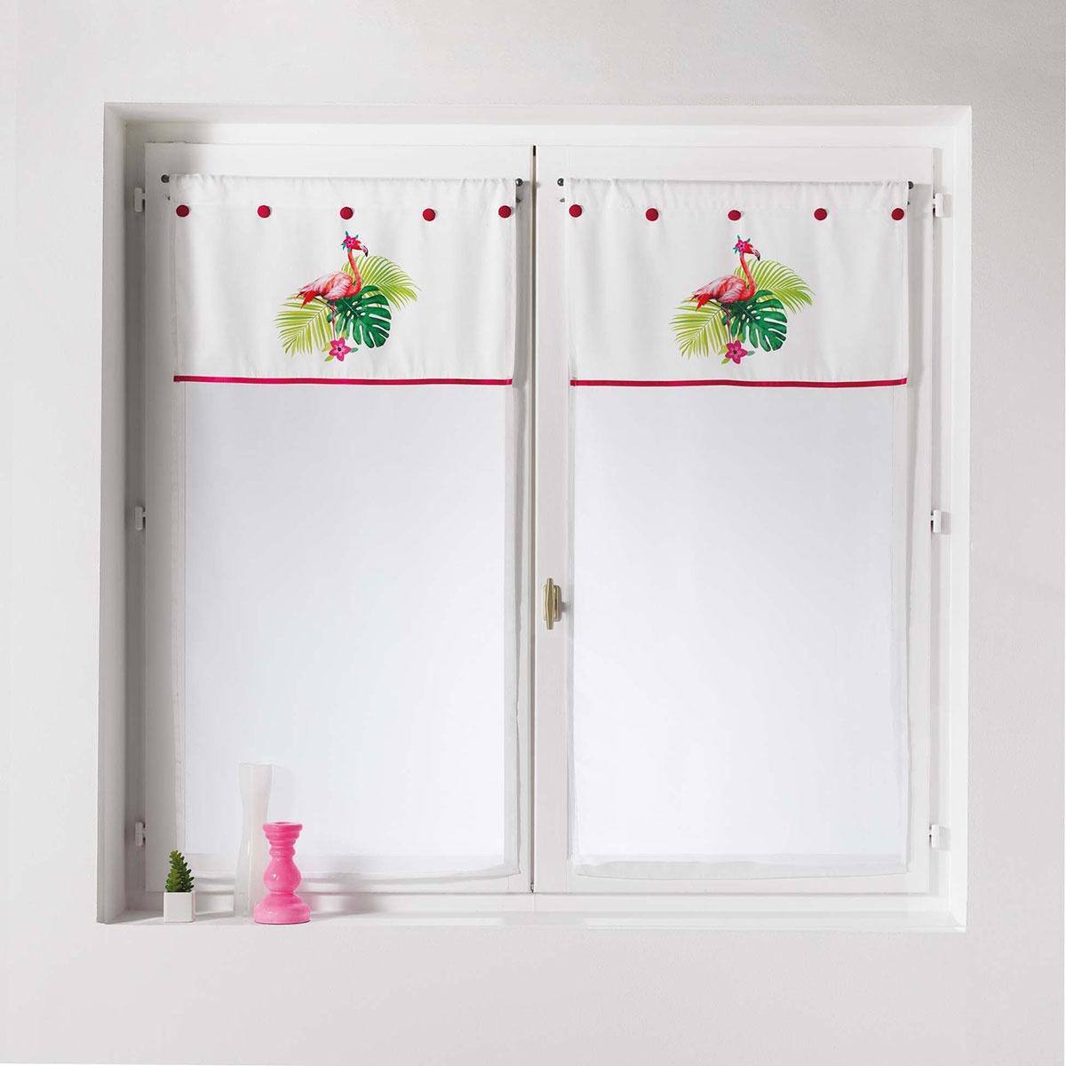 Paire de vitrages droits imprimés flamants roses (Blanc)