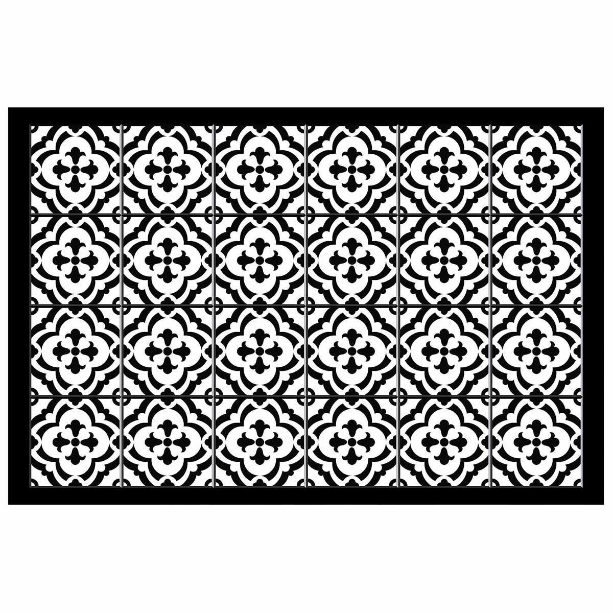 Tapis rectangulaire en vinyl imprimé (Noir)