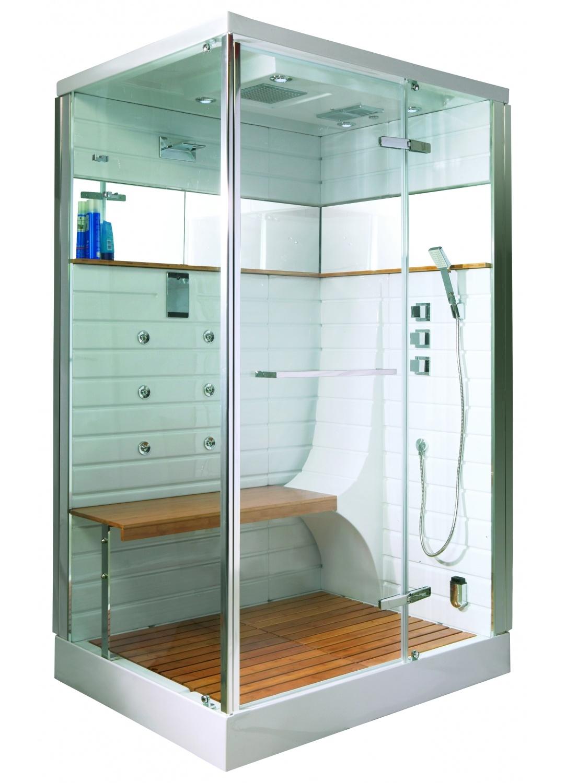 Cabine de douche Hammam avec porte pivotante (Chromé)