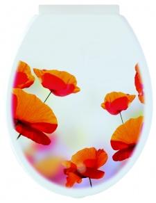 Abattant WC 'Poppy' à Motifs Coquelicots