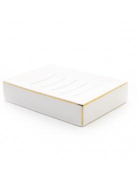 Porte savon en céramique et liseré doré