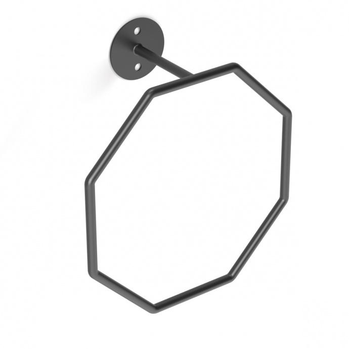 Porte serviette à anneau octogonal (Noir)