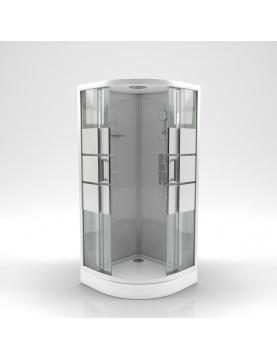 Cabine de douche ronde à bandes laquées blanches
