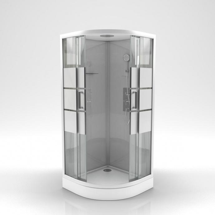 Cabine de douche ronde à bandes laquées (Gris)