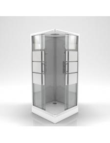 Cabine de douche carrée à bandes laquées blanches