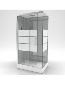 Cabine de douche rectangulaire à bandes laquées blanches