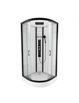 Cabine de douche ronde au style industriel