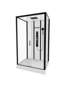 Cabine de douche rectangulaire au style industriel