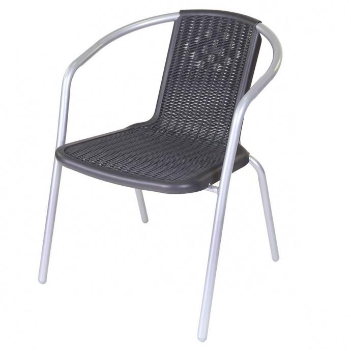 Lot de 4 chaises en acier et plastique gris (Noir gris)