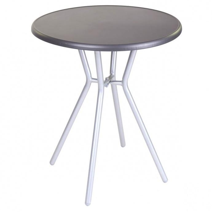 Table de jardin ronde en acier (Noir gris)
