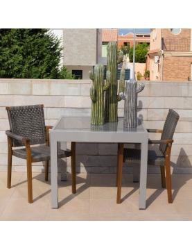 Table extensible en aluminium gris
