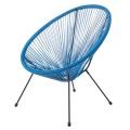 Fauteuil cocoon au tissage coloré (Bleu)