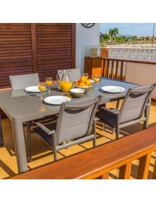 Table à manger rectangulaire en aluminium