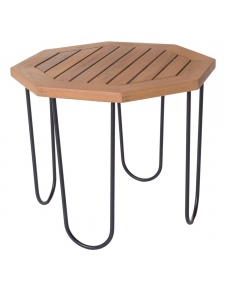 Table hexagonale d'extérieur en acacia