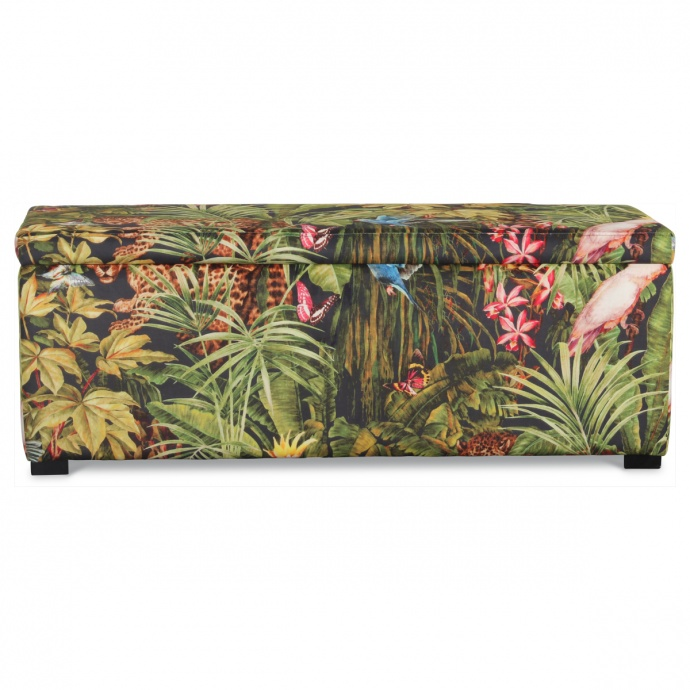 Banquette coffre en velours imprimé jungle ( Multicolore)