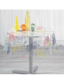 Nappe cristal ronde avec impressions d'ananas colorés