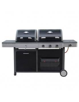 Barbecue double à gaz et à charbon