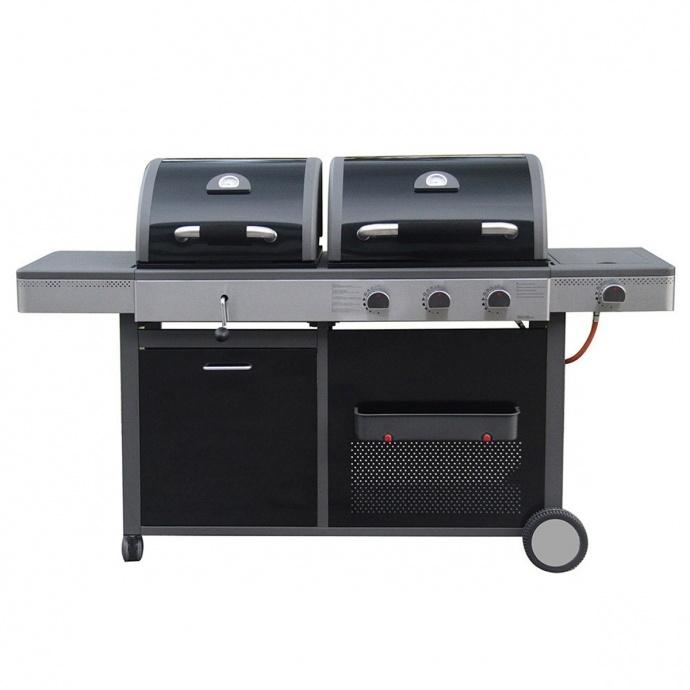 Barbecue double à gaz et à charbon (Noir)