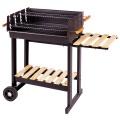 Barbecue à charbon de bois en acier et bois (Noir/bois)