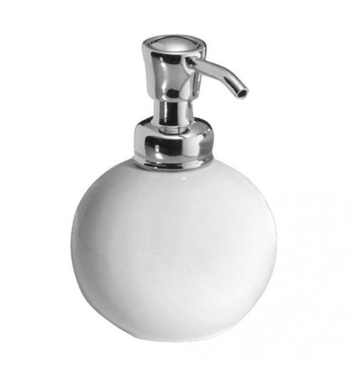 Distributeur de Savon Boule York en Chrome/Blanc (Blanc)