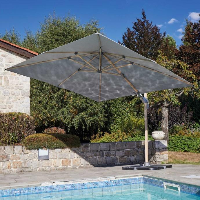 Parasol déporté à effet bois  (Gris Perle)