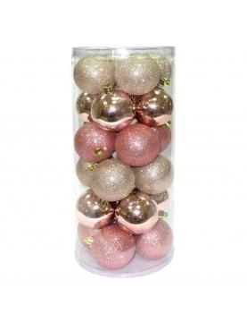 Lot de 24 boules de Noël paillette