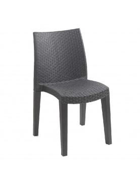 Lot de 4 fauteuils outdoor Lady effet rotin