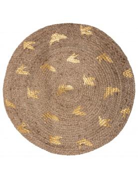 Tapis en jute à feuilles d'or