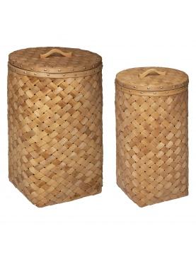 Ensemble de 2 paniers ronds en bois avec couvercle