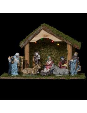 Crèche de Noël avec 8 santons