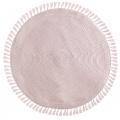 Tapis rond avec pompons et fils lurex doré (Rose)
