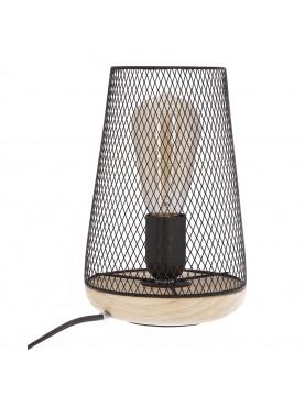 Lampe à poser grille et bois