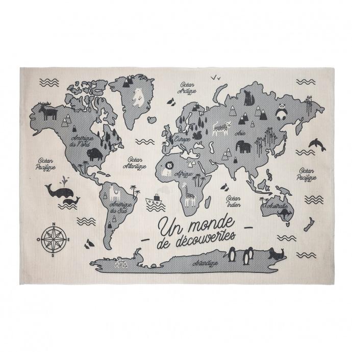 Tapis carte du monde ( Multicolore)