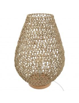 Lampe en bois et papier tressé