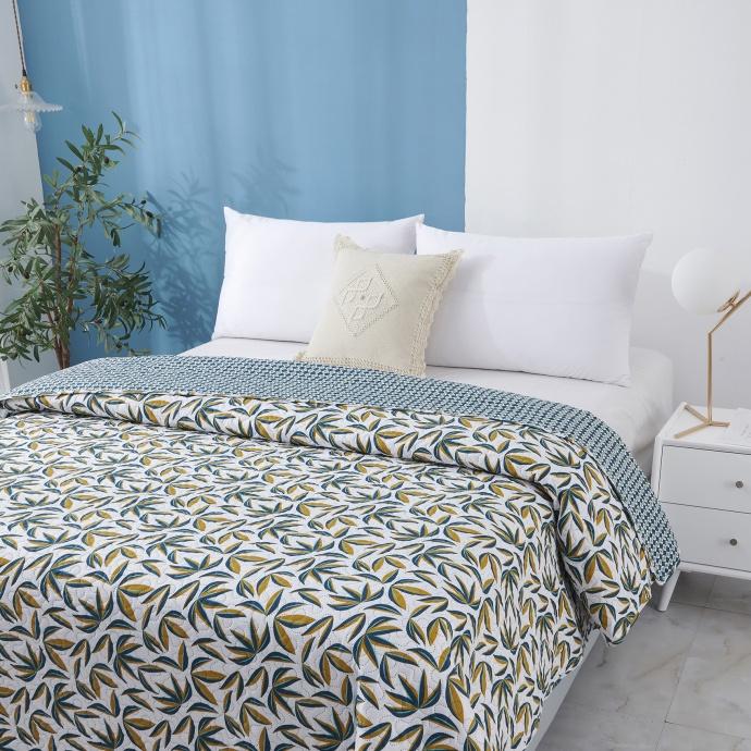 Dessus de lit imprimé tropical (Bleu Canard)