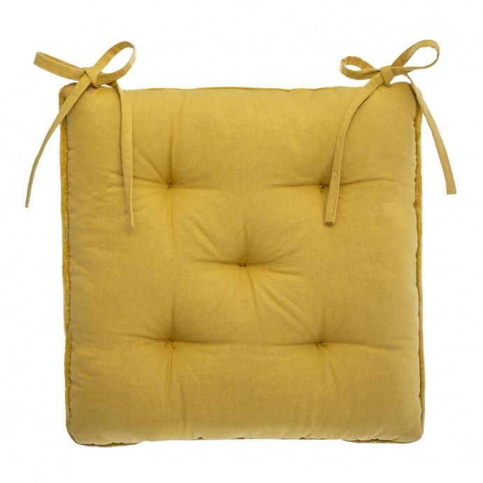 Galette de chaise épaisse en velours (Ocre)