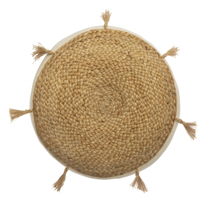 Coussin de sol en jute et pompons (Beige)